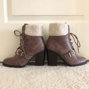 Express Taupe Winter Ankle Booties